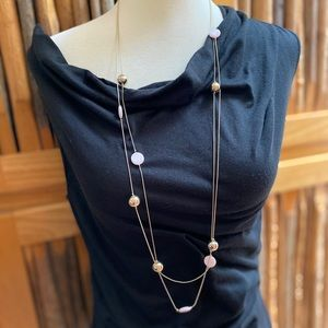 Target Long gold and pink two strand necklace